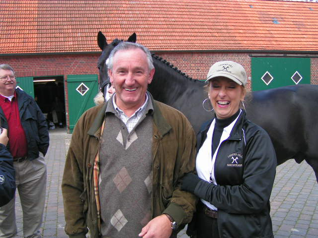 German Olympian and US Dressage coach Klaus Balkenhol and Debra Maddux in German